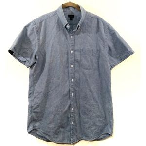 J Crew Chambray Shirt Short Sleeve Button Up Tall